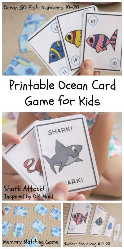 preschool card game printable