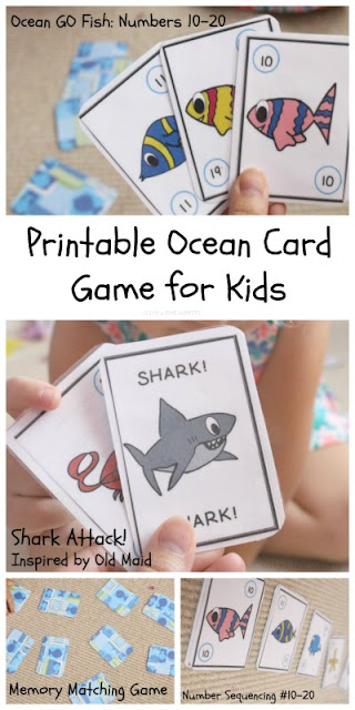 "Have ""oceans of fun"" with this printable card game that can be played 4 different ways!  Print once and play Go Fish!, Memory, Shark Attack!, and practice Number Sequencing!"