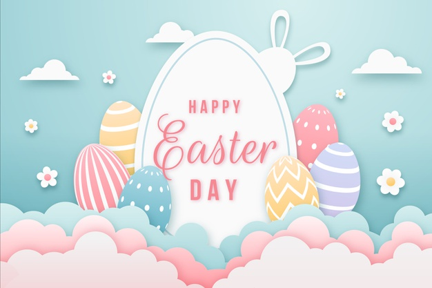 Happy easter day in paper style with multicolored eggs Free Vector