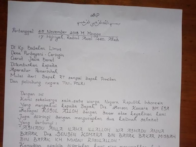 Polres Garut Periksa Hamdani Pembuat Surat Sensen 'Rasul'