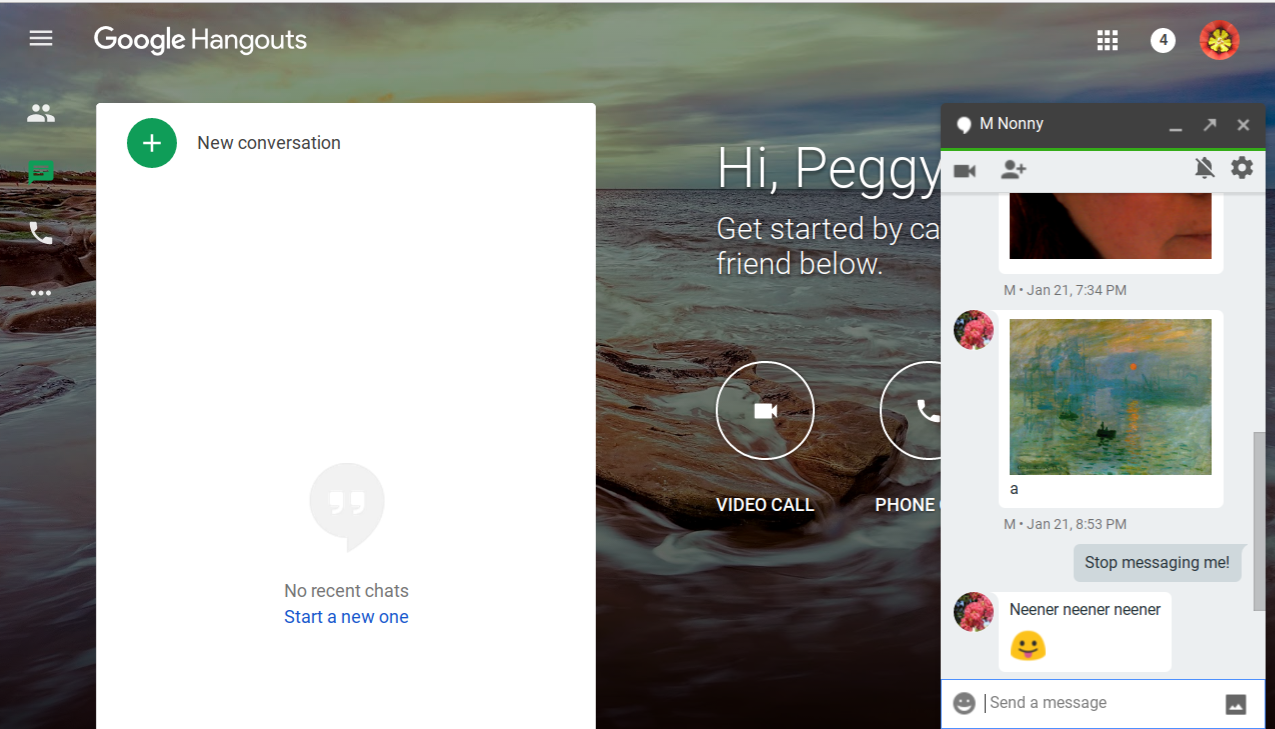 Open the individual Hangout conversation or invite from the person you want to block