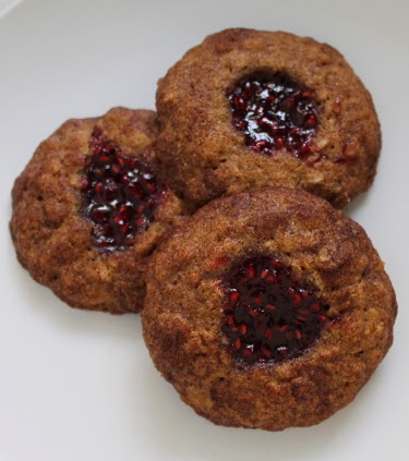 Raspberry oat thumbprint cookies