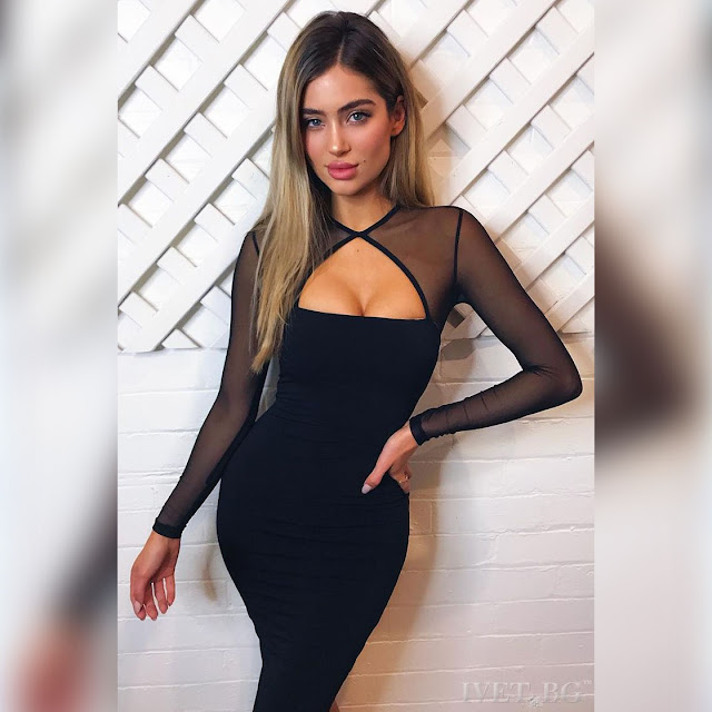 Μοντέρνο midi μαύρο φόρεμα JAYA