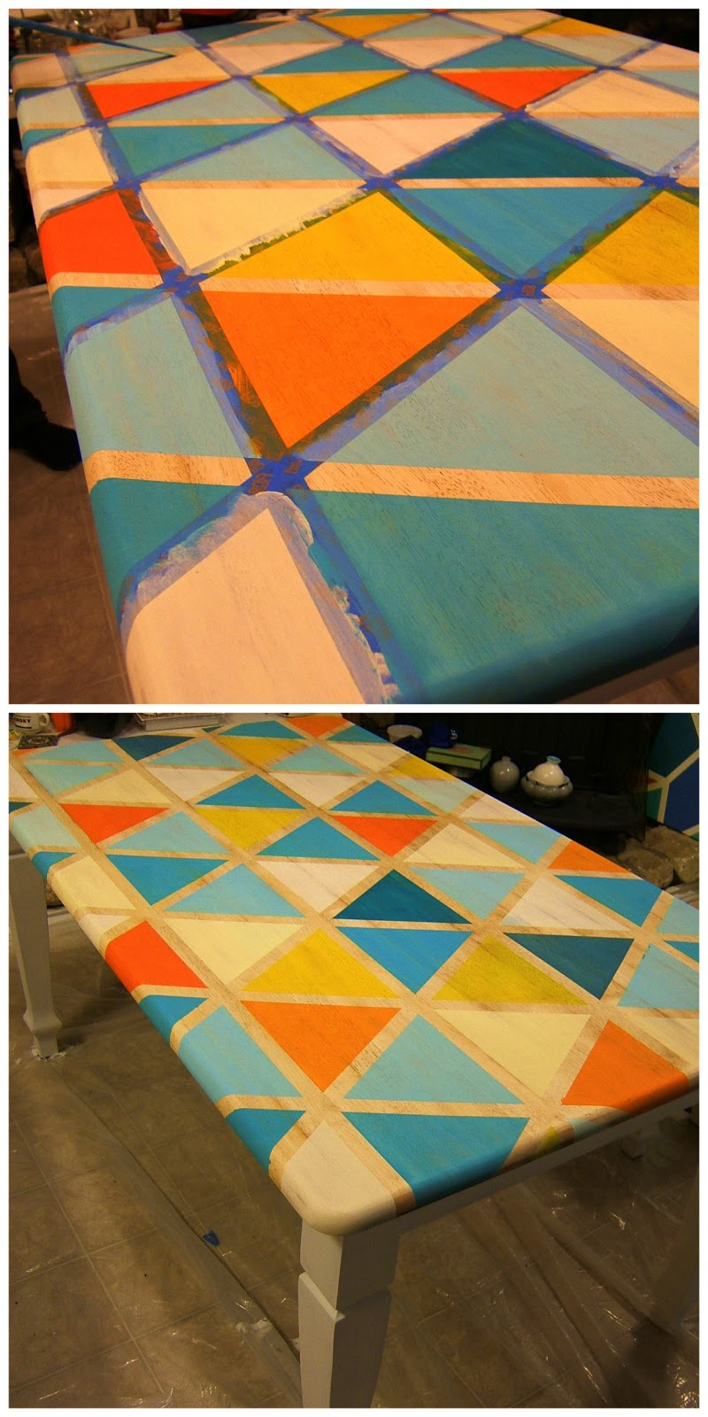 how to diy triangle pattern kitchen painting kitchen table