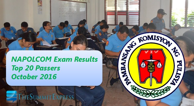 Top 20 Passers List: October 2016 NAPOLCOM exam out