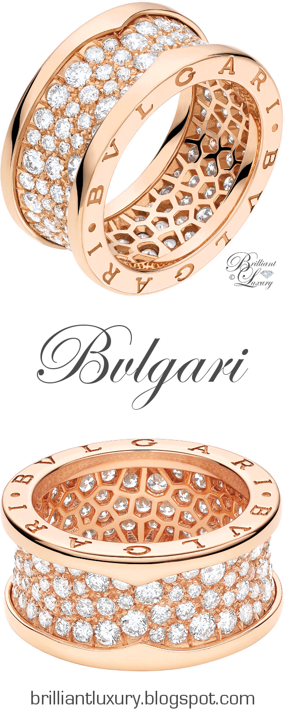 Brilliant Luxury ♦ Bvlgari B.Zero1 18 kt pink gold ring with pavé diamonds