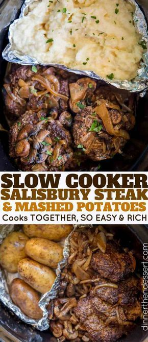 SLOW COOKER SALISBURY STEAK AND MASHED POTATOES