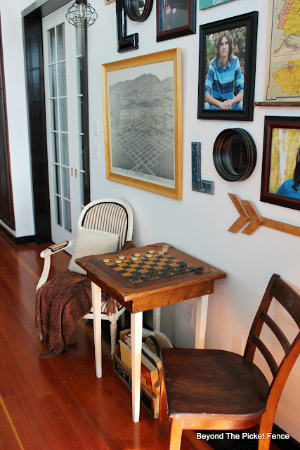 game table, antiques, checkers table, side table, old schoolhouse, vintage, http://bec4-beyondthepicketfence.blogspot.com/2016/02/checkers-table.html
