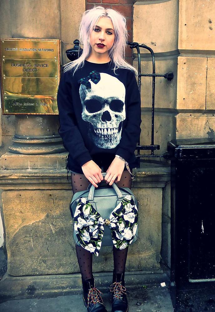 26c08d28b2cf Skull tartan check bow black jumper, £22.