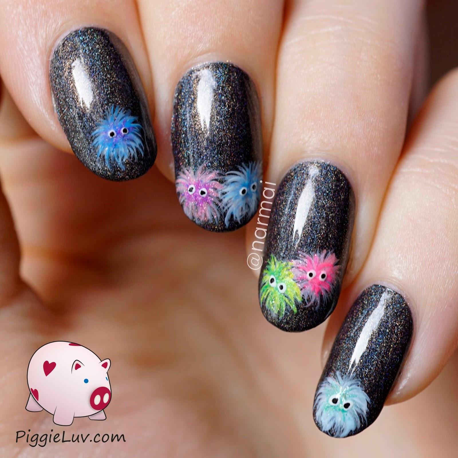 Piggieluv Rainbow Bubbles Nail Art: PiggieLuv: Rainbow Soot Sprites Nail Art