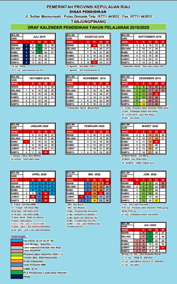 Kalender Pendidikan Tahun Pelajaran 2019 2020 Provinsi Riau Jelajah Informasi Pendidikan Jelajah Informasi