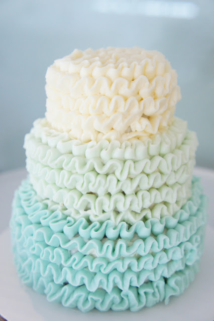 Blue Ombre Cake and Cupcakes