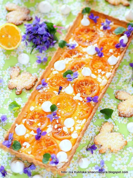 mazurek o smaku cytrynowym, tarta cytrynowa, ciasto cytrynowe, krem z cytryna, cytryny, wielkanoc, ciasta wielkanocne