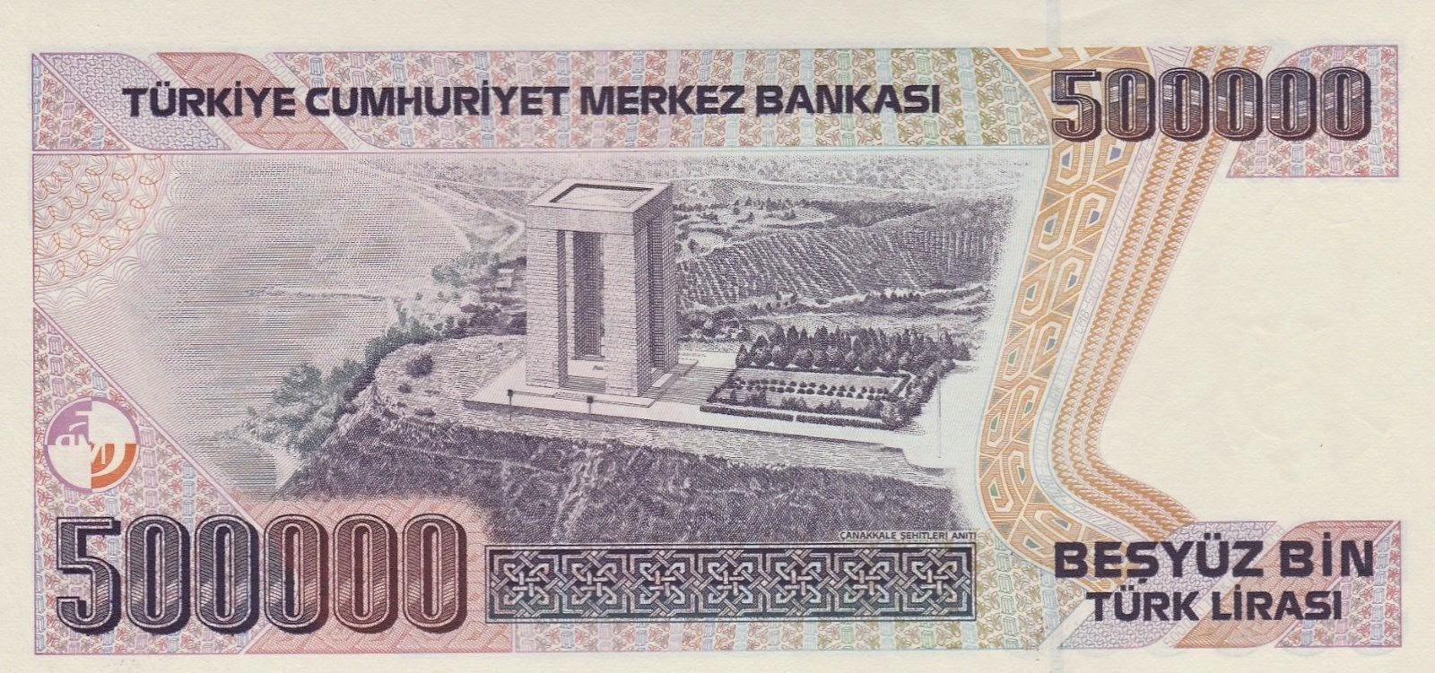 500000 Turkish Lira Note Monument of Canakkale Martyrs