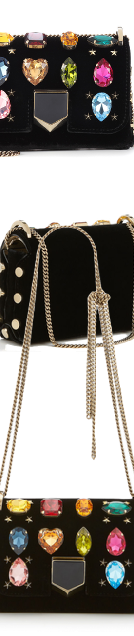 JIMMY CHOO LOCKETT MINI VELVET BAG WITH GEMS