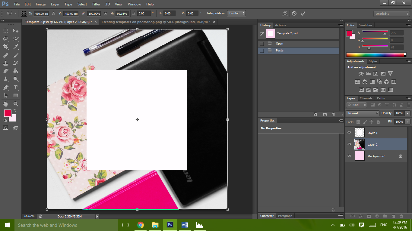 Creating and customizing templates on photoshop