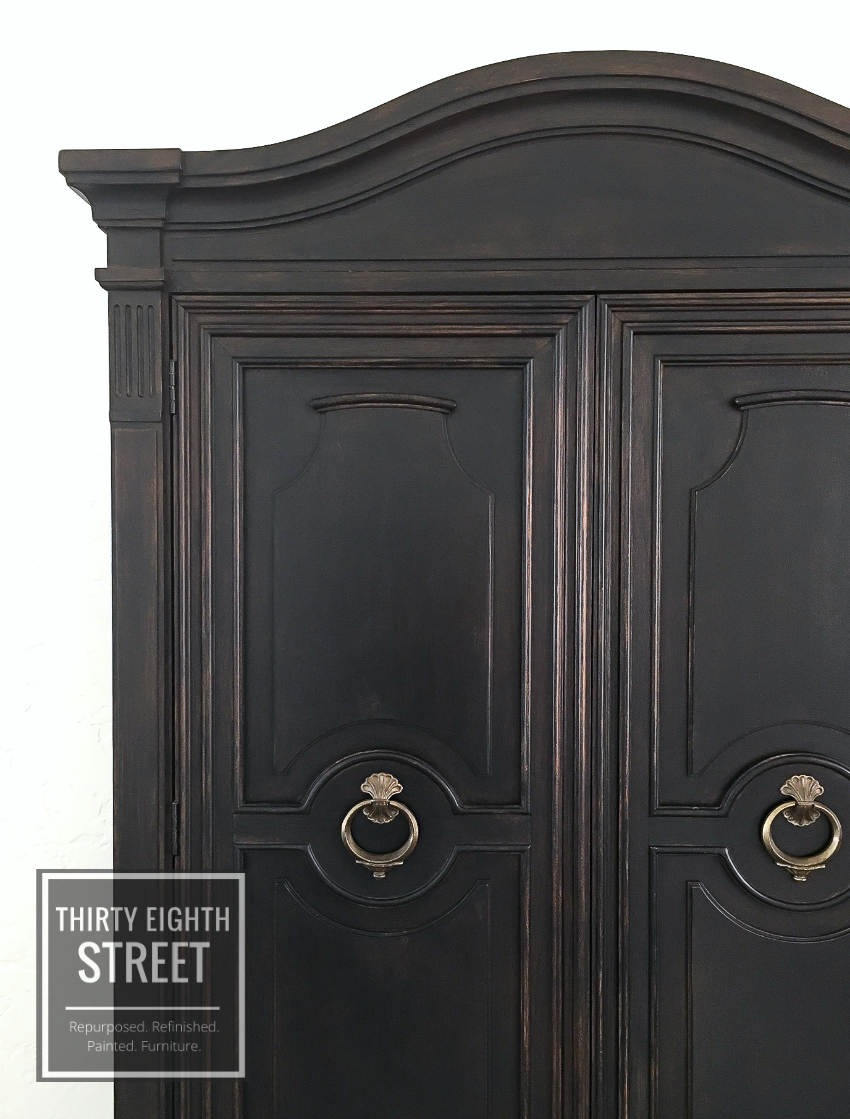 rustic furniture makeovers, rustic furniture, black distressed armoire, painted furniture