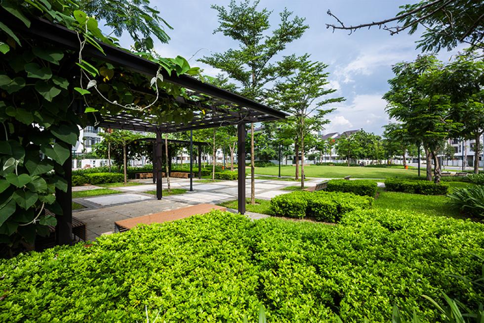 Không gian xanh trong tiểu khu Botanic- Gamuda Gardens