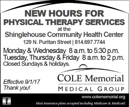 New Hours Shinglehouse Physical Therapy