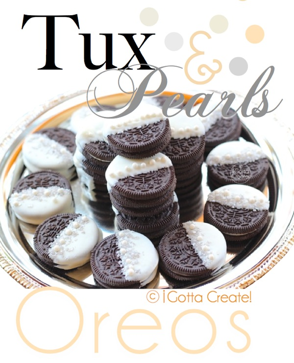 Tuxedo and Pearls Oreos -- LOVE this for bridal shower or a wedding! | Details at I Gotta Create!