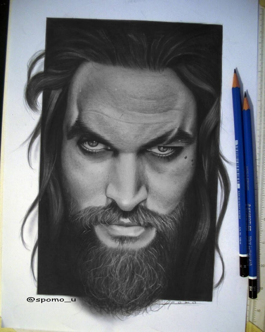 01-Jason-Momoa-Khal-Drogo-GoT-Spomo-Ubiparipović-Black-and-White-Celebrity-Pencil-Portraits