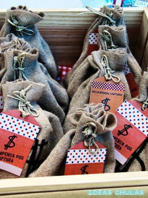 Sacos de yute con etiqueta recompensa