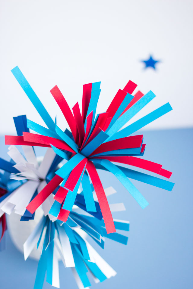 DIY paper fireworks - made with a fringe cutter. So cool!