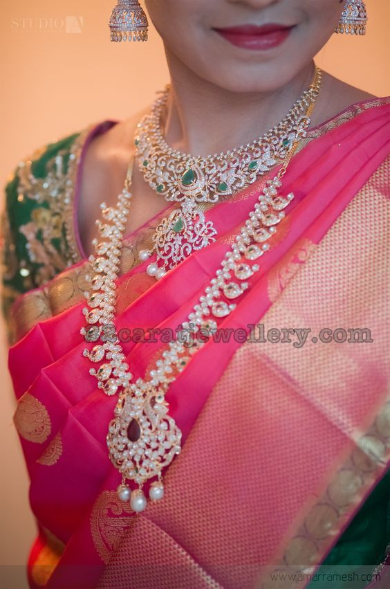 Radiant Bride in Diamond Mango Mala