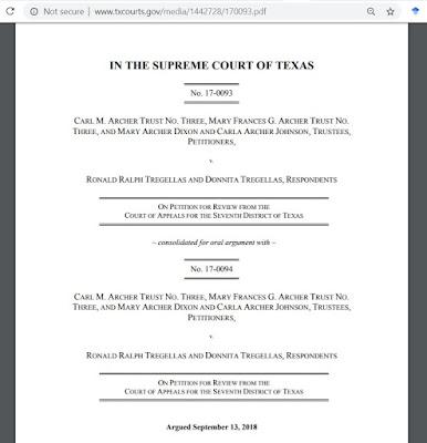 Carl M. Archer Trust No. Three v. Tregellas No. 17-0093 (Tex. Nov. 11, 2018)