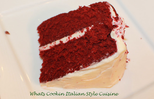 Red velvet cake made with a cake mix and semi homemade with cream cheese frosting