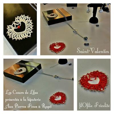 Coeur en frivolité de Lilas Lace par filOfilie Frivolité exposés à la bijouterie Aux Pierres Fines à Royat