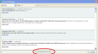 Fig. 2 - Gestione Librerie IDE Arduino Versione 1.6.5 - Fonte Arduino IDE