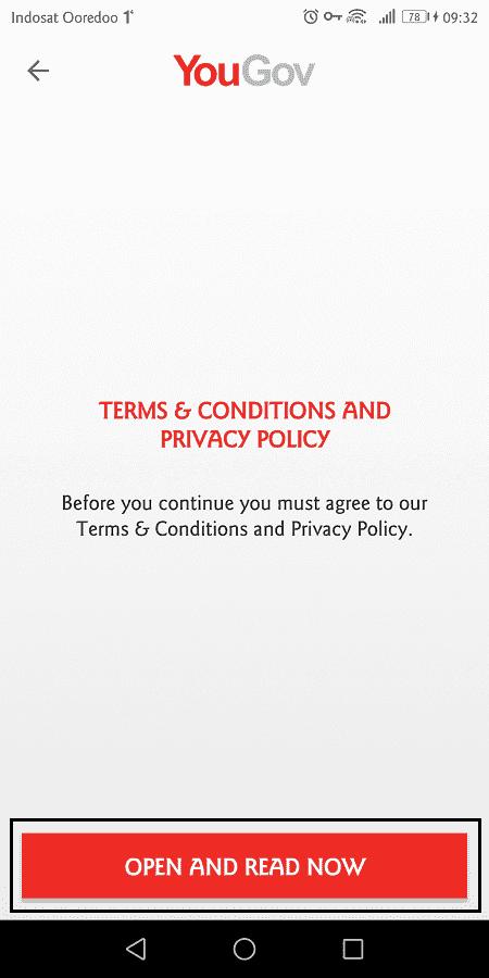 sebelum mendaftar, pengguna diharuskan membaca syarat dan ketentuan terlebih dahulu