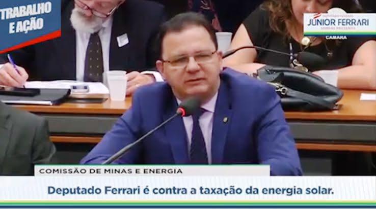 Em Brasília, Júnior Ferrari critica Aneel por propor taxação de energia solar