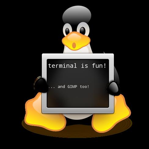"""Tux segurando um terminal que diz: """"terminal é divertido! ... e GIMP também!"""""""