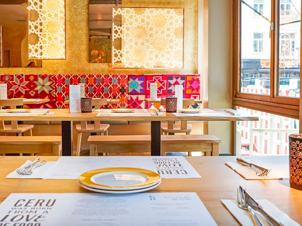 dining at colourful ceru, soho