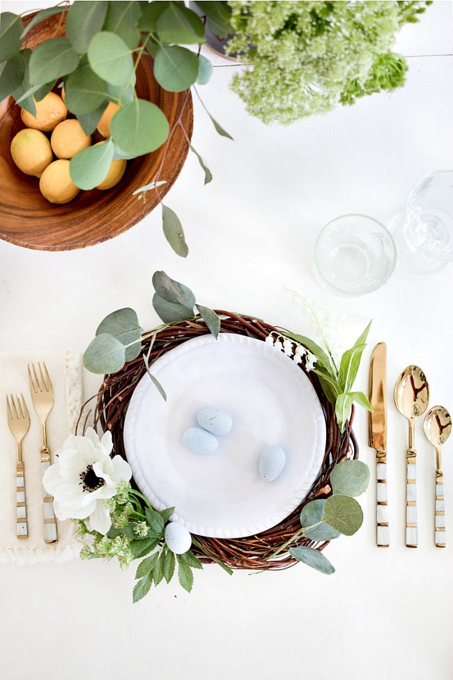 DIY spring floral charger and candle ring