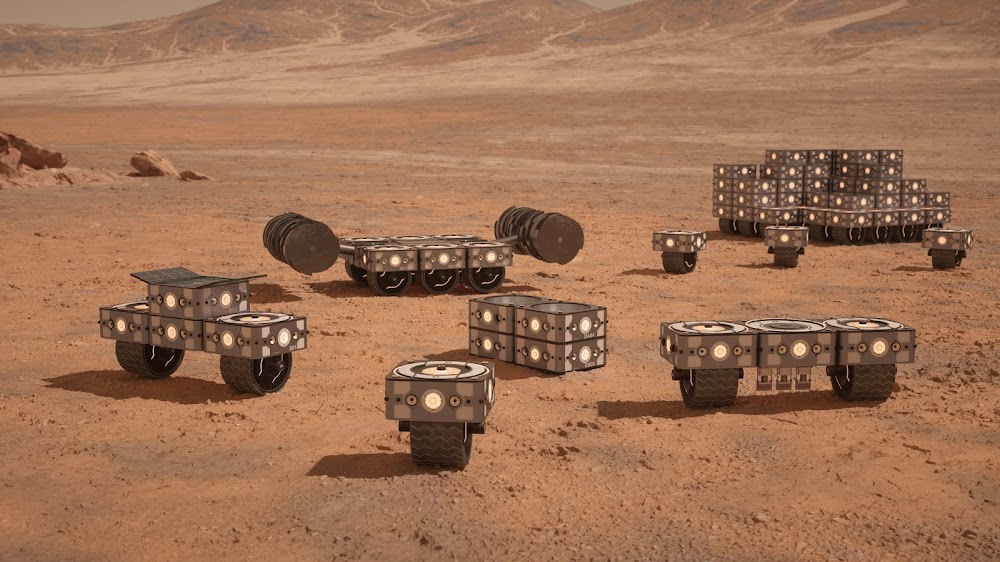 Robots for 3D-printed Mars base by Hassell & EOC (NASA's 3D-Printed Habitat Challenge)