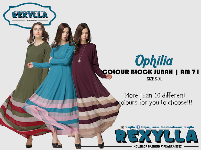 rexylla, colour block, colour block jubah, ophilia collection
