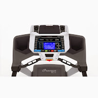 "Nautilus T614's console with large 3"" x 5"" LCD screen, 2 user profiles, USB port, media shelf, speakers, cooling fan, dual water bottle holders"