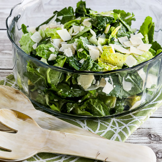 Low-Carb Caesar Salad with Kale, Romaine, and Shaved Parmesan found on KalynsKitchen.com.