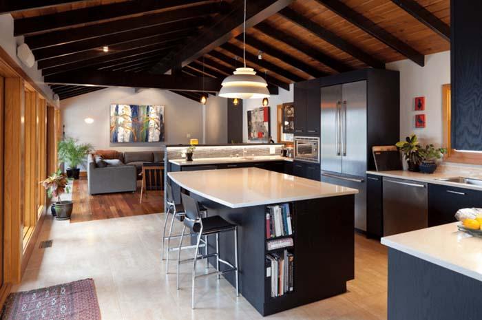 siyah renk modern mutfak dolapları