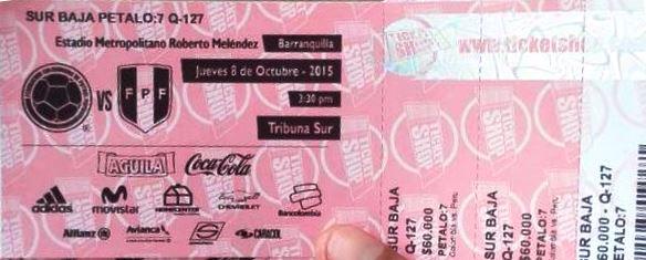 Como comprar entradas del Peru Colombia?