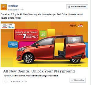 Promo Gratis 7 Toyota Sienta ini asli bukan bohongan dengan banner Unlock Your Chance to Win 7 All New Sienta.