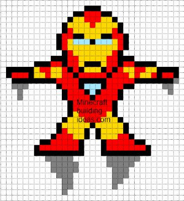 Minecraft Pixel Art Templates Iron Man