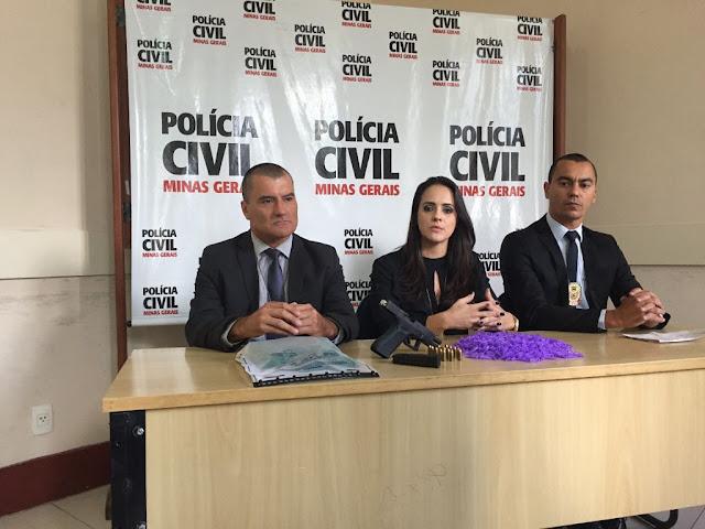Delegado da Regional de Venda Nova, Hudson Brandão; a Delegada da 1ª Delegacia de Polícia Civil em Venda Nova, Flávia Portes, e o Chefe do 1º Departamento de Polícia Civil em BH,  Delegado-Geral Kleyverson Rezende.