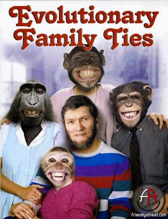 Funny Ken Ham Evolutionary Family Ties Joke Picture