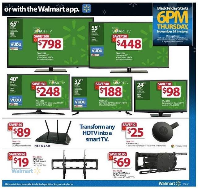 Samsung Class Smart LED HDTV, Netgear Router, Chromecast 2 and TV Wall Mount Walmart Black Friday Deals Ads