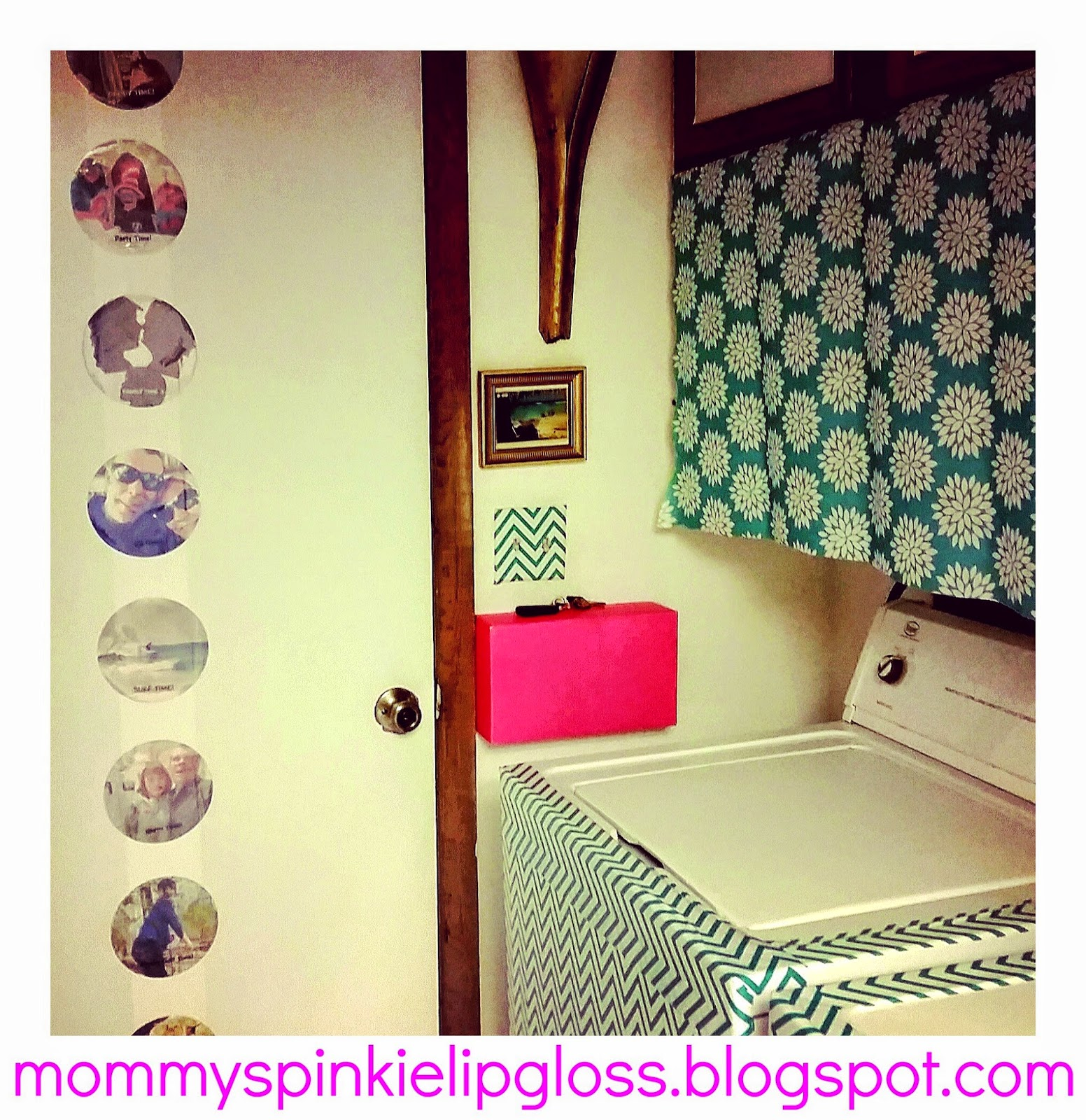 Contact paper makes my laundry room make over easy from MommysPinkieLipgloss.blogspot.com