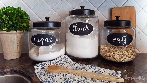 kitchen canister chalkboard labels